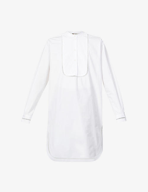 PORTS 1961: Ladder-trim cotton-poplin midi dress
