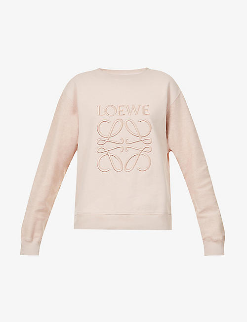LOEWE: Anagram-embroidered cotton-jersey sweatshirt