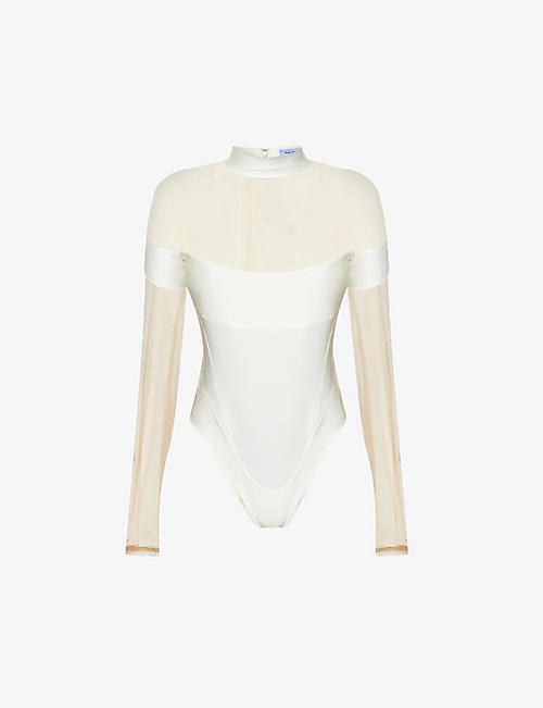 MUGLER: Sheer-panel stretch-jersey and mesh body