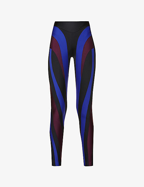 MUGLER: Contrast-panel high-rise stretch-jersey leggings