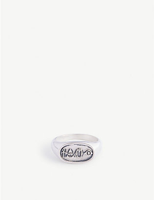 SERGE DENIMES: Hieroglyphic sterling silver signet ring