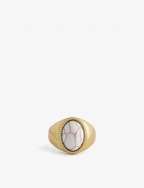 SERGE DENIMES: Bone 14ct gold-plated sterling silver ring