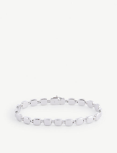 TOM WOOD: Cushion rhodium-plated stainless steel bracelet