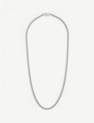 TOM WOOD: Rounded white rhodium-plated sterling-silver curb-chain necklace