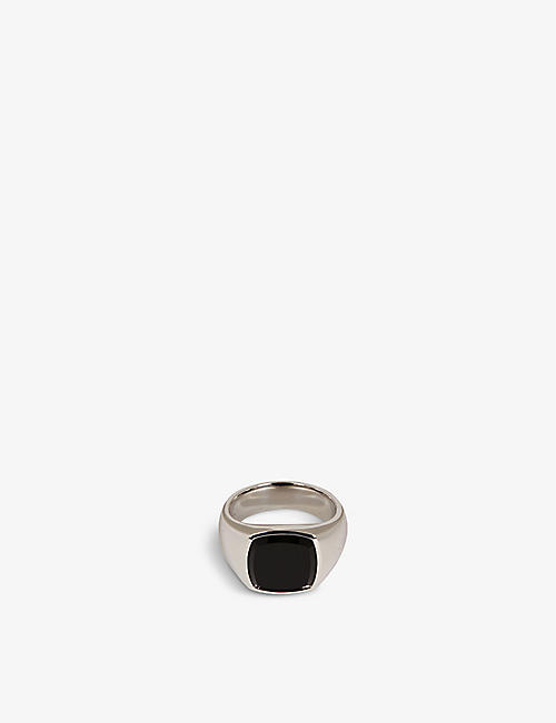 TOM WOOD: Shelby rhodium-plated sterling-silver and onyx ring