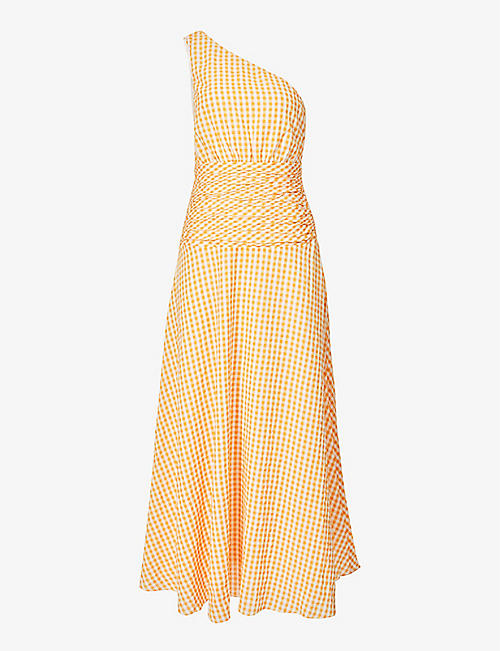 PEONY: One-shoulder gingham-print organic cotton-blend midi dress