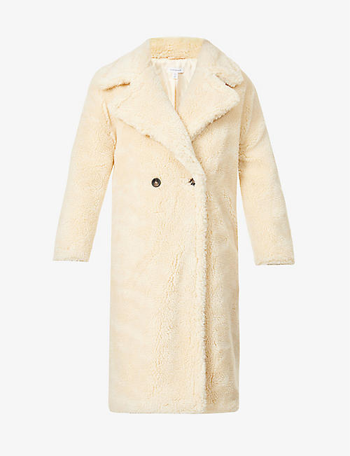 TOPSHOP: Whinnie double-breasted faux-fur coat