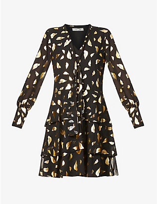 DIANE VON FURSTENBERG: Mylah graphic-pattern crepe mini dress