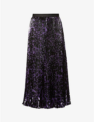 DIANE VON FURSTENBERG: Brett pleated animal-print high-waist woven maxi skirt