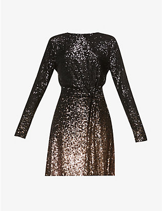 DIANE VON FURSTENBERG: Savanna scoop-neck sequin-embellished mini dress