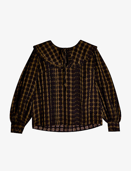 TOPSHOP: Checked pie-collar blouse