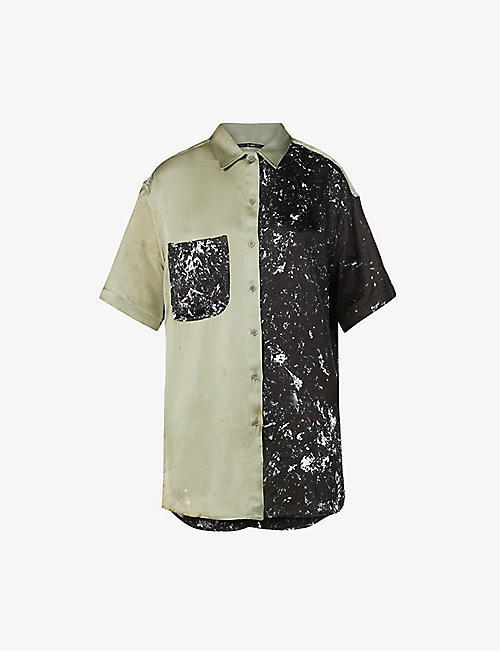SONG FOR THE MUTE: Contrast oversized woven shirt