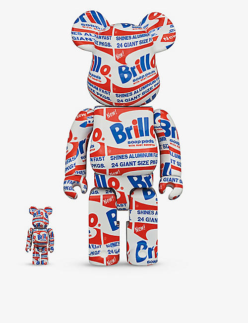 BE@RBRICK: Andy Warhol ''Brillo'' graphic-print 100% and 400% figures set of two