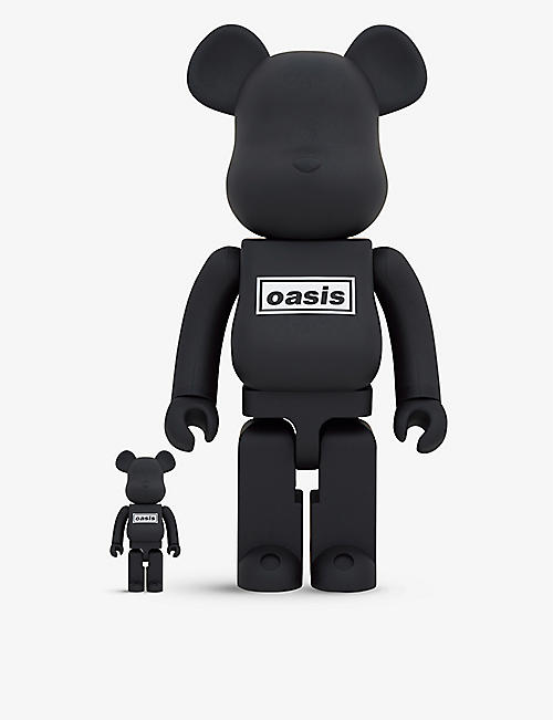 BE@RBRICK: Oasis Black graphic-print 100% and 400% figures set of two
