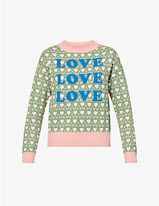 NEVER FULLY DRESSED: Love heart-print knitted jumper