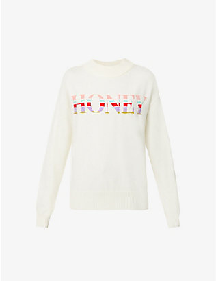 NEVER FULLY DRESSED: Honey text-intarsia knitted jumper