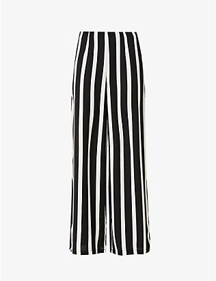 NEVER FULLY DRESSED: Freya striped wide-leg mid-rise woven trousers