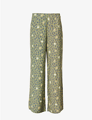 NEVER FULLY DRESSED: Leopard-print wide-leg high-rise woven trousers