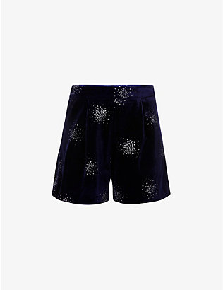 NEVER FULLY DRESSED: Embellished high-rise stretch-velvet shorts