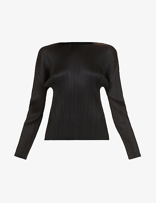 PLEATS PLEASE ISSEY MIYAKE: pleated long sleeve woven top