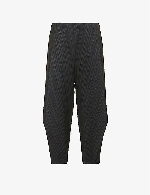 PLEATS PLEASE ISSEY MIYAKE: Pleated tapered-leg high-rise cropped trousers