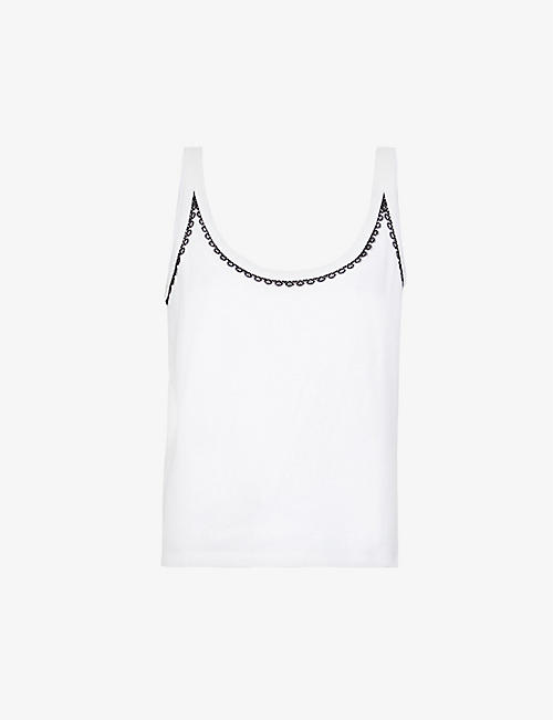 CLAUDIE PIERLOT: Lace-trimmed cotton-blend jersey top