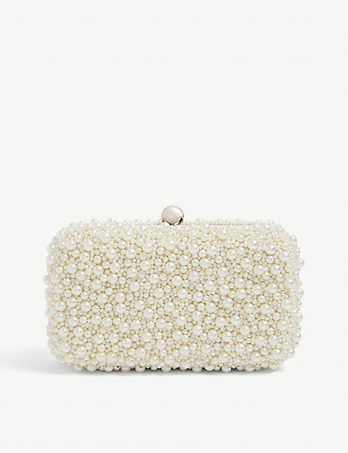FROM ST XAVIER: Marcela faux pearl-embellished clutch