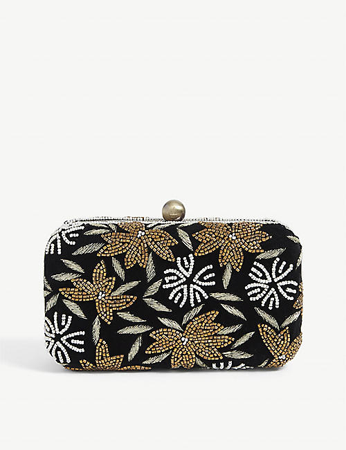 FROM ST XAVIER: Floral beaded velvet clutch bag