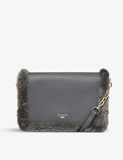 DUNE: Dasha faux-fur trim cross-body bag