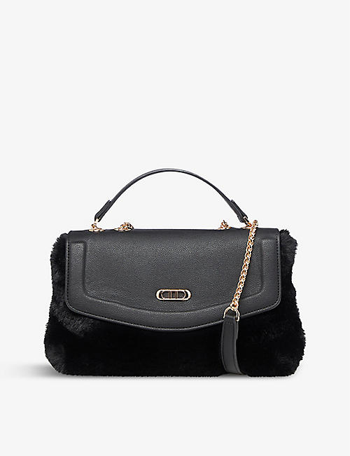 DUNE: Teddy faux fur and leather shoulder bag