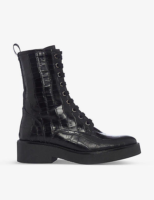 BERTIE: Crocodile-embossed leather ankle boots