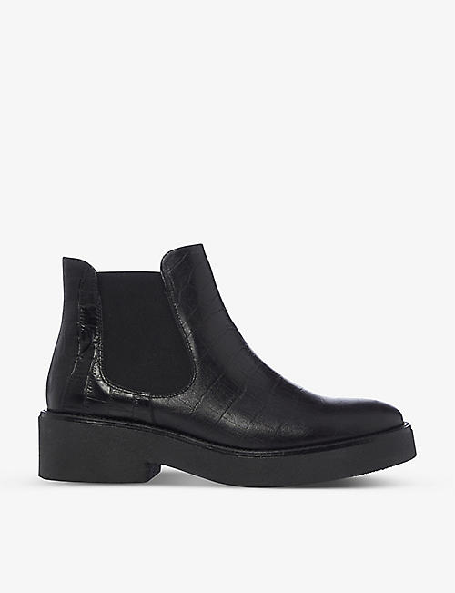 BERTIE: Crocodile-embossed leather Chelsea boots