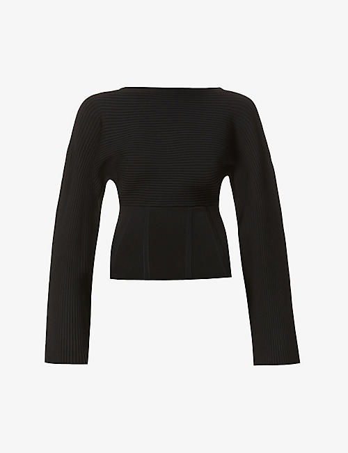 DION LEE: Cocoon corset-hem stretch-jersey top