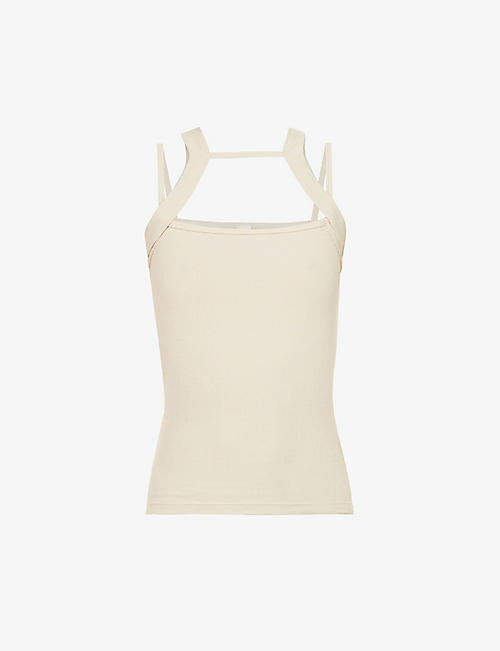DION LEE: Holster ribbed cotton-jersey top