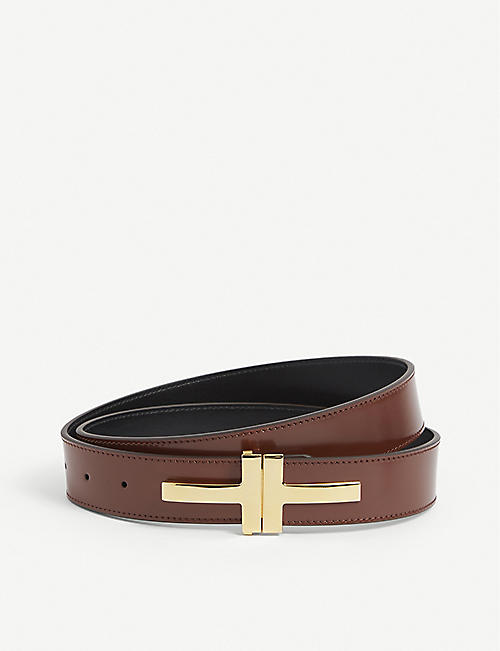 TOM FORD: Double T-Buckle leather belt