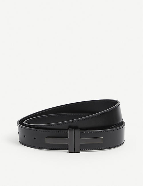 TOM FORD: Glossy Double T-Buckle leather belt