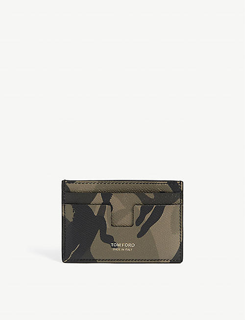 TOM FORD: Camo-print leather card holder
