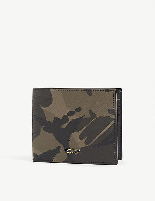 TOM FORD: Camouflage-print bifold leather wallet
