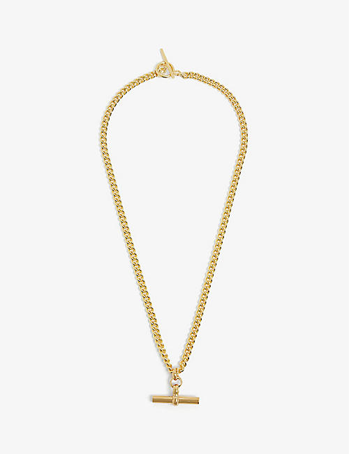 TILLY SVEAAS LTD: T-bar curb-chain gold-plated sterling silver necklace