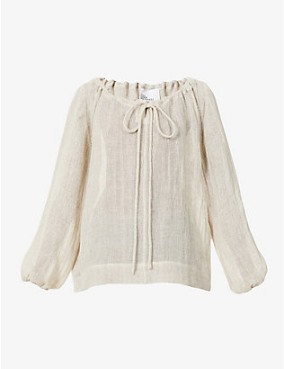 LISA MARIE FERNANDEZ: Puffed-sleeve linen-blend top