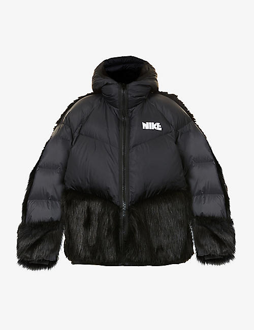 NIKE X SACAI: Padded hooded shell-down jacket