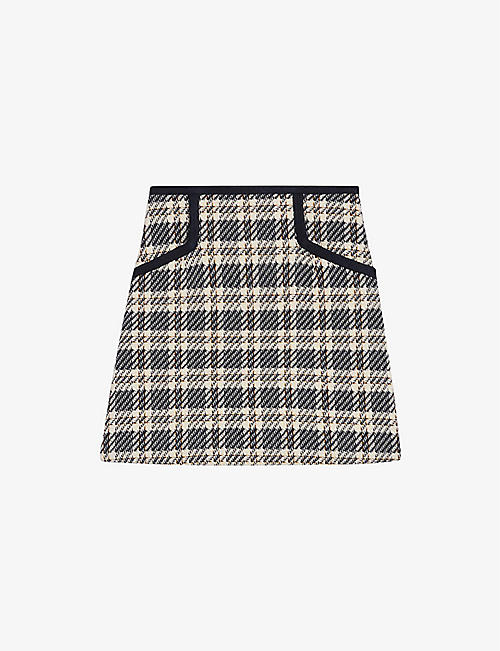 SANDRO: Annette checked recycled-cotton mini skirt