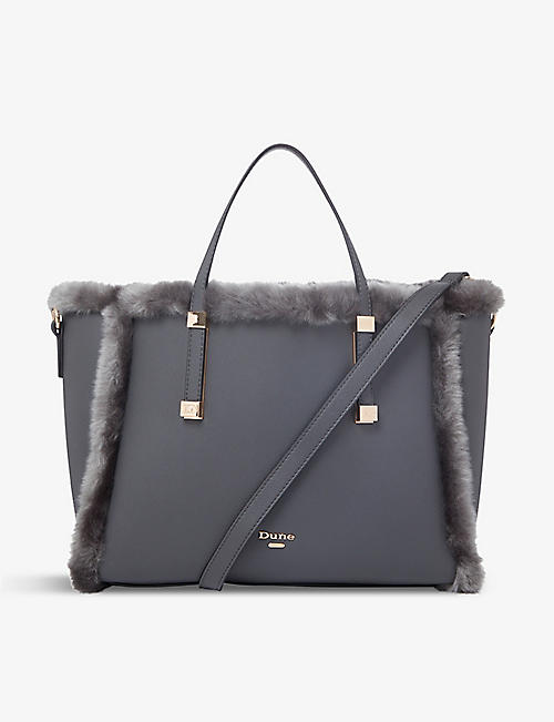 DUNE: Duffie faux-fur and leather tote bag