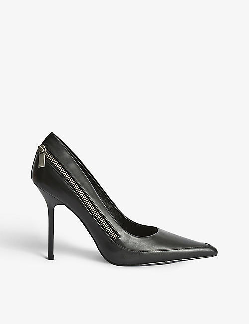 REISS: Hoxton zip-detail leather courts