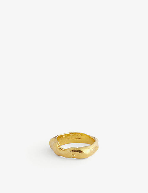 ALIGHIERI: The Edge of the Abyss 24ct gold-plated sterling silver ring