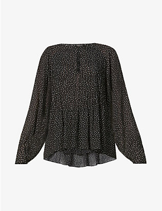 RAG & BONE: Brandy polka dot-pattern scoop-neck crepe top
