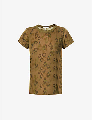 RAG & BONE: All Over Cheetah semi-sheer woven T-shirt