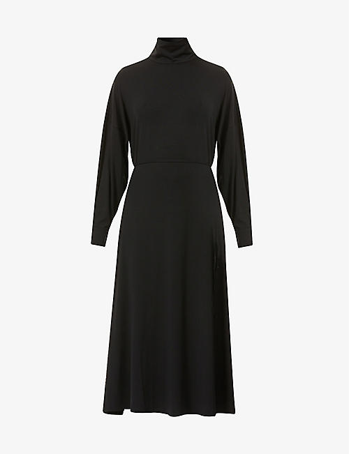 BITE STUDIOS: Funnel-neck stretch-woven midi dress