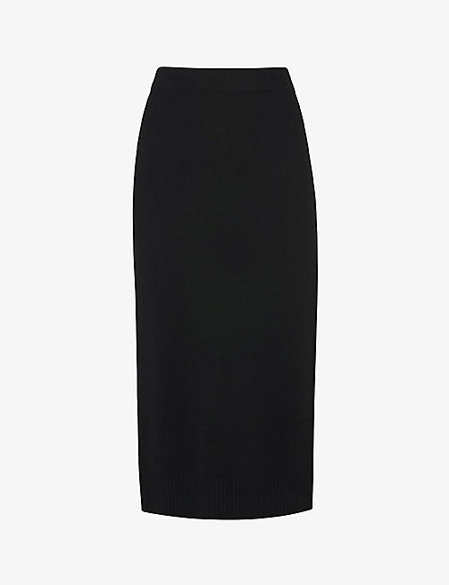 WHISTLES: Knitted slim-fit high-waist wool midi skirt