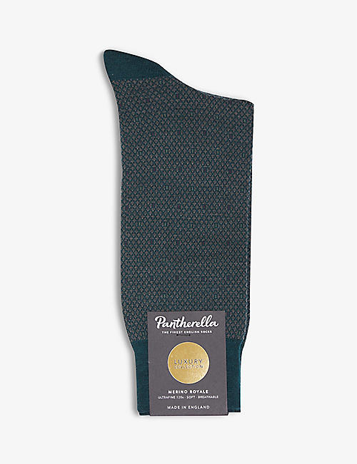 PANTHERELLA: Abdale Argyle wool-blend socks